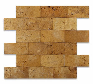 "Gold / Yellow Travertine 2 X 4 Honed CNC Arched Brick Mosaic - 6"" X 6"" Sample"