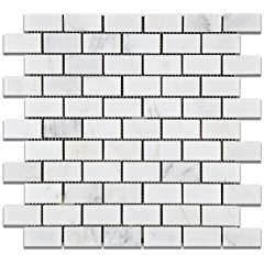 Oriental White - Eastern White Marble 1 X 2 POLISHED Brick Mosaic Tile - Box of 5 Sheets