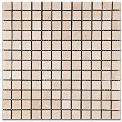 Royal Beige Marble 1 X 1 Polished Mosaic Tile - Lot of 50 Sheets