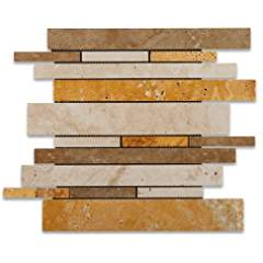 Mixed Travertine Honed Random Strip Mosaic Tile - Lot of 50 sq. ft.
