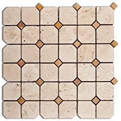 Ivory / Light Travertine Tumbled Octagonal Mosaic Tile w/ Gold Dots - 6