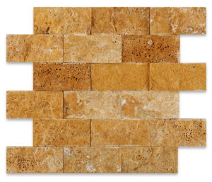Gold/Yellow 2X4 Split-Faced Travertine Mosaic Tile