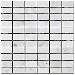Oriental White - Eastern White Marble 1 X 2 HONED Straight Mosaic Tile - Box of 5 Sheets