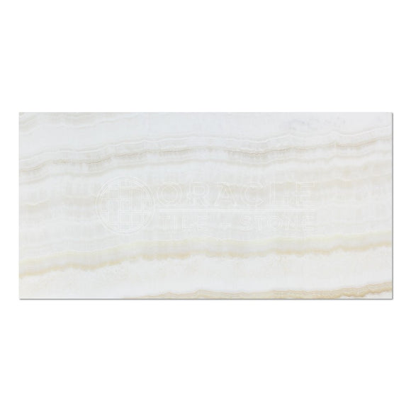 White Onyx (Bianco Fantastico) 12 X 24 Field Tile, Vein-Cut, Polished (Lot of 20 pcs. (40 sq. ft.))