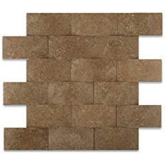 Noce Travertine 2 X 4 CNC Arched 3-D Brick Mosaic Tile - Lot of 50 sq. ft.