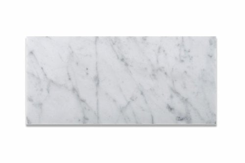 Bianco Carrara White 6 X 12 Marble Polished Brick Tile - 2 pcs. Sample Set of 3 X 6