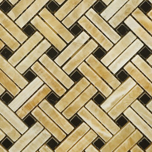 Honey Onyx Polished Stanza Basketweave Mosaic w/ Black Dots - Lot of 50 sq. ft.