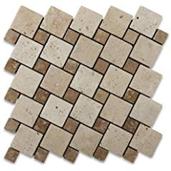 Ivory & Noce Travertine Tumbled Tic-Tac Mosaic Tile - 6