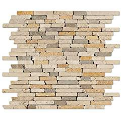 "Mixed Travertine Random Strip Mosaic Tile, Tumbled - 6"" X 6"" Sample"