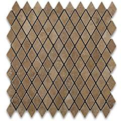 "Noce Travertine Tumbled 1"" Diamond Mosaic Tile - Lot of 50 sq. ft."