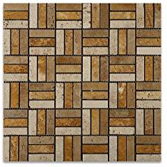 Mixed Travertine Tumbled Medici Triple Strip Mosaic Tile - Box of 5 sq. ft.