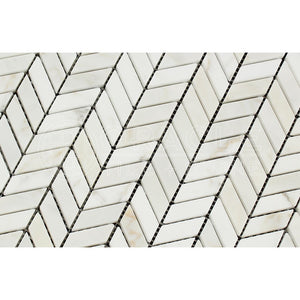 Calacatta Gold (Italian Calacutta) Marble Mini Chevron Mosaic Tile with Calacatta Gold Marble Strips, Honed