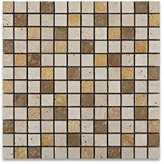 Mixed Travertine 1 X 1 Mosaic Tile, Tumbled - Box of 5 sq. ft.