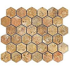 "Scabos Travertine 2"" Hexagon Mosaic Tile, Tumbled - 6 X 6 Sample"