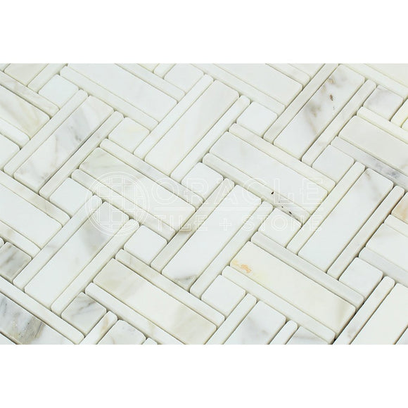 Calacatta Gold (Italian Calcutta) Marble Triple-Weave Mosaic Tile (with Calacatta Gold Marble Dots, Polished)