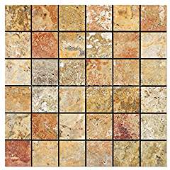 Scabos Travertine 2 X 2 Mosaic Tile, Polished