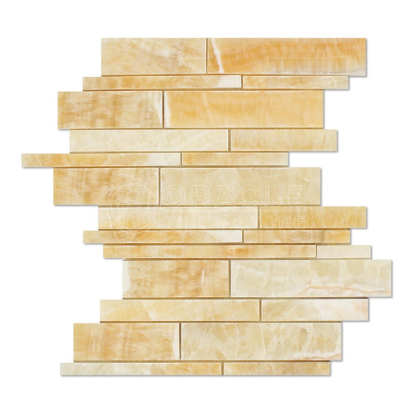 Honey Onyx Random Strip Mosaic Tile, Polished