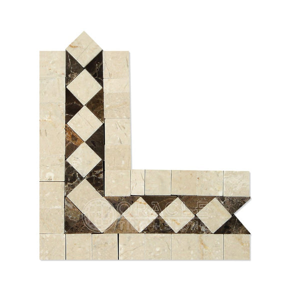 Crema Marfil Spanish Marble BIAS Border Corner with Emperador Dark Marble Dots, Polished