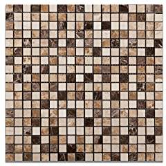 "Mixed Marble 5/8 X 5/8 Venice Polished Mosaic Tile - 6"" X 6"" Sample"
