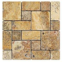 Scabos Travertine 3-Pieced Mini-Pattern Mosaic Tile, Tumbled - 6 X 6 Sample