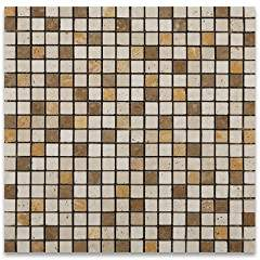 "Mixed Travertine 5/8 X 5/8 Tumbled Mosaic Tile - 6"" X 6"" Sample"