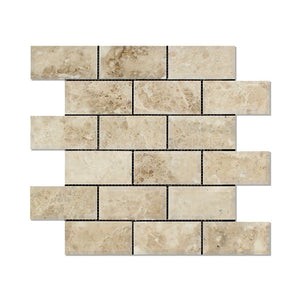 Cappuccino Marble 2 X 4 Brick Mosaic Tile, Polished and Deep Beveled