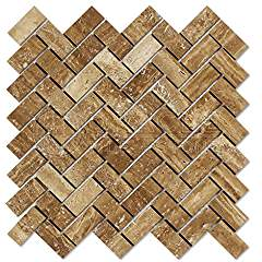Noce Vein-Cut Travertine Herringbone (1 X 2) Mosaic Tile, Brushed & Unfilled (LOT of 5 SHEETS)