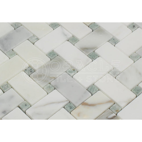 Calacatta Gold (Italian Calcutta) Marble Basketweave Mosaic Tile with Ming Green Marble Dots, Honed