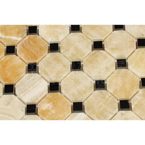 Honey Onyx Octagon Mosaic Tile with Black Marble Dots, Polished