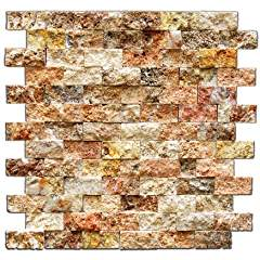 Scabos 1 X 2 Split-Faced Travertine Brick Mosaic Tile - 6 X 6 Sample