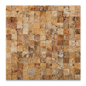 Scabos 1X1 Travertine Split-Faced Mosaic Tile