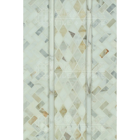 Calacatta Gold (Italian Calcutta) Marble Mini Herringbone Mosaic Tile, Polished