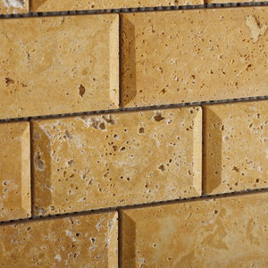Gold / Yellow Travertine 2 X 4 Beveled Brick Mosaic Tile - Lot of 50 sq. ft.