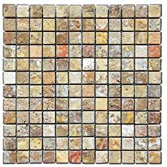 Scabos 1 X 1 Tumbled Travertine Mosaic Tile - 6 X 6 Sample