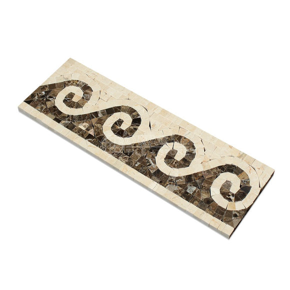 Crema Marfil Spanish Marble Wave Border with Emperador Dark Marble, Polished