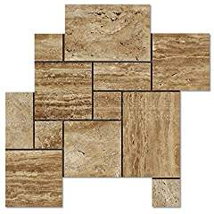 Noce Vein-Cut Travertine Opus Pattern Mosaic Tile, Polished (LOT of 50 SHEETS)