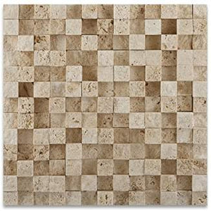 "Ivory Travertine 1 X 1 HI-LOW Split-Faced Mosaic Tile - 6"" X 6"" Sample"