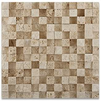 Ivory Travertine 1 X 1 HI-LOW Split-Faced Mosaic Tile - 6