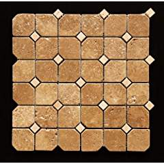 Noce Hexagon Tumbled Travertine with Ivory Dots