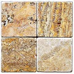 Scabos Travertine 6 X 6 Tile, Tumbled - Box of 5 sq. ft.