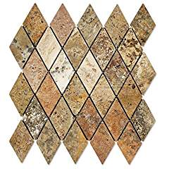 Scabos Travertine 2 X 4 Diamond (Rhomboid) Mosaic Tile, Tumbled