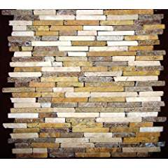 Random Strip Yellow Beige Noce TUMBLE Travertine For Kitchen Bathroom Backsplash, Shower Walls & Flooring
