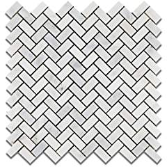 Oriental White (Eastern White) Marble Mini Herringbone Mosaic Tile, Polished - Lot of 50 Sheets