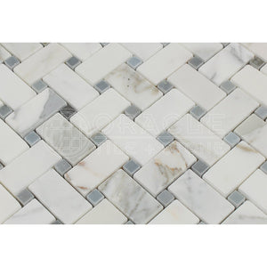 Calacatta Gold (Italian Calcutta) Marble Basketweave Mosaic Tile with Blue & Gray Marble Dots, Polished