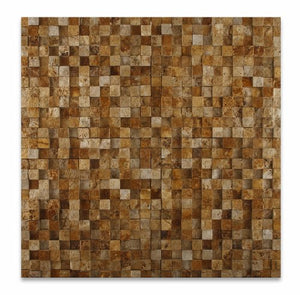 "Gold / Yellow Travertine 1 X 1 Split-Faced Mosaic Tile - 6"" X 6"" Sample"