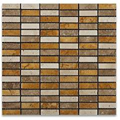 Mixed Travertine Tumbled Single Strip Mosaic Tile - Box of 5 sq. ft.