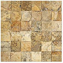 Scabos Travertine 2 X 2 Mosaic Tile, CNC-Arched & Honed