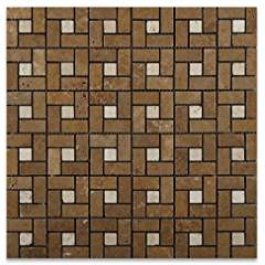 Ivory Travertine Tumbled Mini-Pinwheel Mosaic Tile w/ Noce Dots - Box of 5 sq. ft.