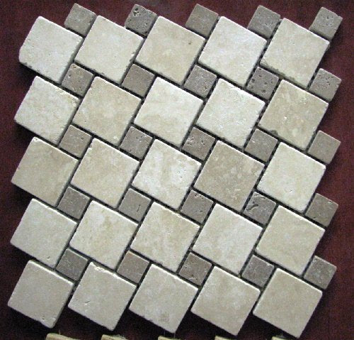 Turned Shape 2x2 TUMBLE Beige & Noce Travetine Mosaics Meshed on 12x12 Tiles for Backsplash, Shower Walls, Bathroom Floors