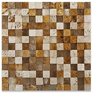 Mixed Travertine 1 X 1 Mosaic Tile, HI-LOW Split-Faced - Box of 50 sq. ft.
